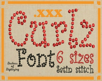 Curlz embroidery font, XXX Format, Curly embroidery font,  curlz dots, embroidery file, XXX File