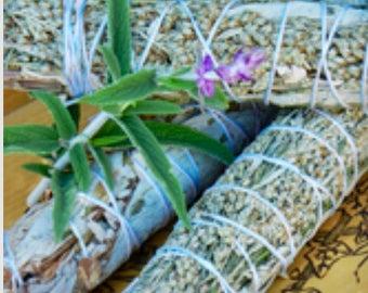 Handmade mugwort and flower smudge