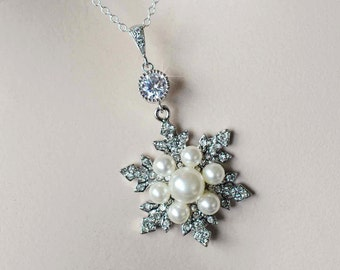 Handmade Vintage Inspired Pearl, CZ and Crystal Rhinestone Snowflake Pendant & Chain, Bridal, Wedding (Pearl-763)