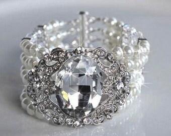 Vintage Inspired Handmade Crystal Rhinestone & Pearl Bracelet, Bridal, Wedding (Pearl-262)