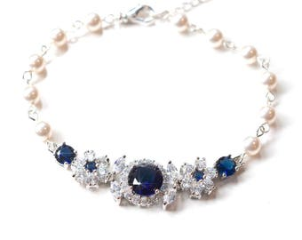 Handmade Sapphire Blue Cubic Zirconia CZ and Swarovski Pearl Bridal Bracelet, Bridal, Wedding (Pearl-806)