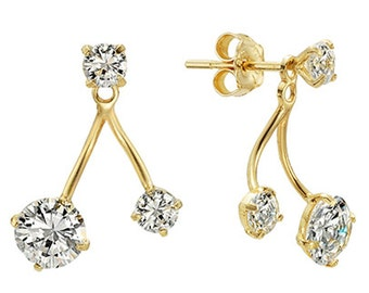 14k Solid Yellow Gold Stud Earrings Shiny 7943 Charming Two Way Design Lovely