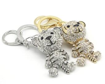 Naughty Tiger Keyholder Pure Handmade Key Chain Handbag Accessory For Women