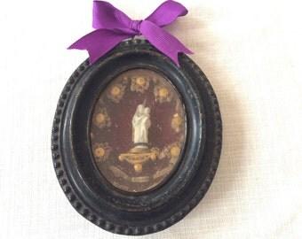 Antique frame reliquary . French 1800s reliquary.  Napoleon III Religious frame reliquary