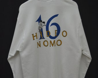 LA DODGERS Sweater Vintage 90's Los Angeles Dodgers Hideo Nomo MLB Pullover Crewneck Sweater Sweatshirt Size M