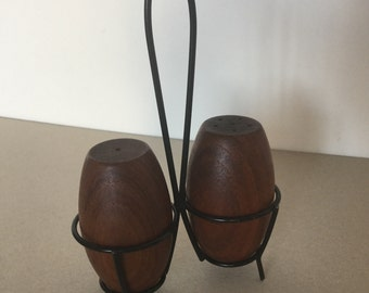 Mid century 60's salt and pepper shakers from teak string design