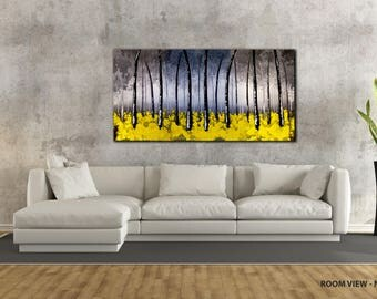 "ORIGINAL LANDSCAPE PAINTING abstract  40"" textured landscape/forest, Yellow, Black, White canvas"