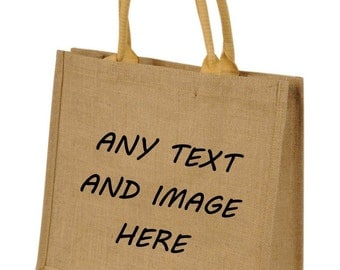 Personalised with your text Jute bag Cute Gift Unique Bags Childminders bag Logo Totes