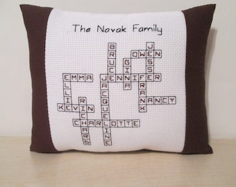 Family Tree Pillow Grandchildren Children Custom Personalized Name Cross Stitch Crossword Puzzle