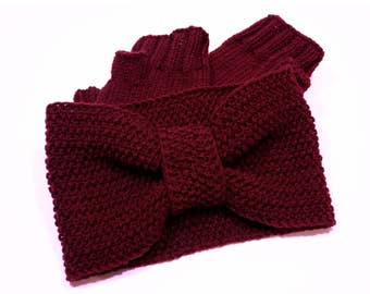 Set of hand knit headband and fingerless gloves
