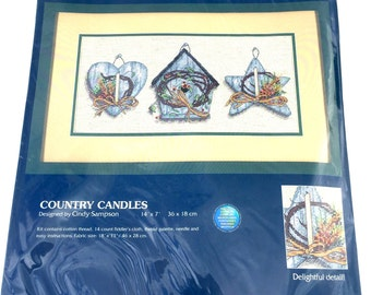 Country Candles Counted Cross Stitch Kit Birdhouse Blue