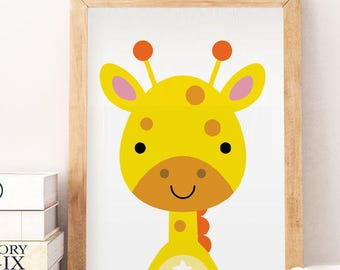 Safari Animals Print Art, 50% OFF Nursery Animal Art Print, Yellow Print Art, Nursery Animal Print Art, CUTE Giraffe, Yellow Printable Art