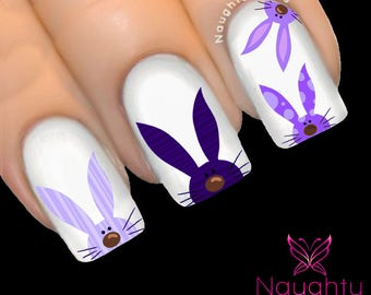 CHEEKY BUNNY PURPLES Easter Nail Water Transfer Decal Sticker Art Tattoo #1303