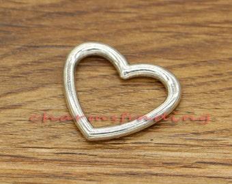 15pcs Open Hollow Heart Charms Connectors Valentine Charms Antique Silver Tone 27x23mm cf0347