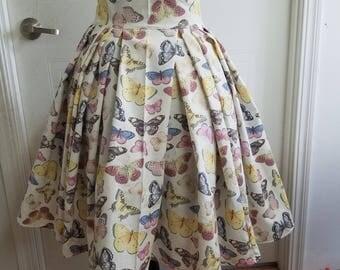 High - waist - Pleated - pinup - rockabilly - butterfly - skirt