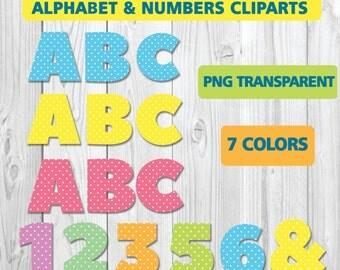 ALPHABET & NUMBERS CLIPARTS, Png transparent, each 7 colors