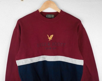 RARE!!! Lyle & Scott Casual Big Logo Crew Neck Multicolour Sweatshirts Hip Hop Swag M Size