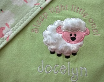 Lamb Baby Blanket Appliqued Personalized/Girl Baby Blanket/Green Pink &  White Nursery/Baby Blanket/Custom Baby