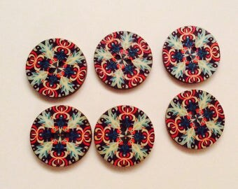 X 6 vintage style wooden buttons