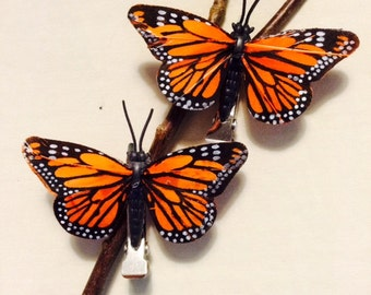Small orange Monarch butterfly hair clips - set of 2