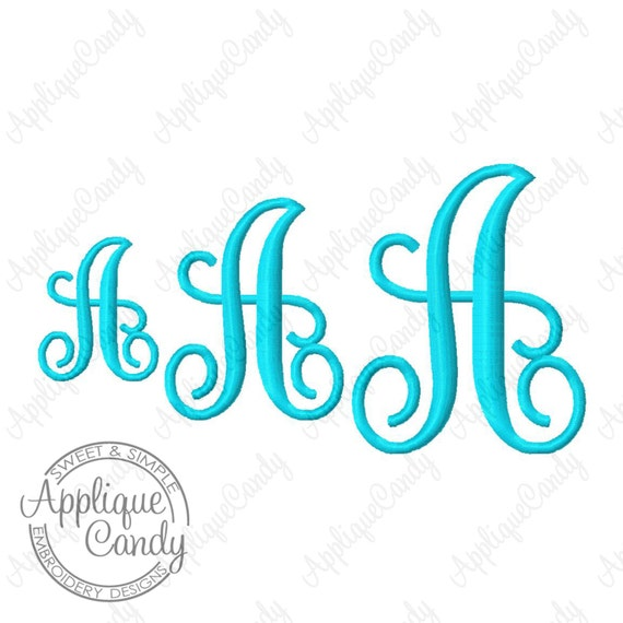 Swirl kk monogram font set machine embroidery inch