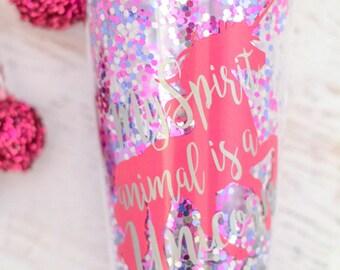 Unicorn Tumbler, Unicorn Cup, Unicorn is my spirit animal, Glitter Tumbler, Glitter cup, Personalized Gift Tumbler, Gift for her, beach pool