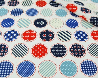 Sailor Cotton Fabric, Nautical Home Decorations, Sail Pattern Fabric, Red Blue White Fabric For Decoration, Anchor Sea Ocean Fabric