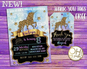 Unicorn Party, unicorn invitation, unicorn birthday, unicorn invite, unicorn card, unicorn celebration, unicorn, unicornio printable, tags
