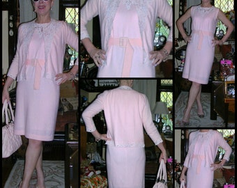 Vintage 1960's pink cashmere and satin floral cut-outs wiggle dress and matching cardigan size: medium with original belt (made in U.S.A.)