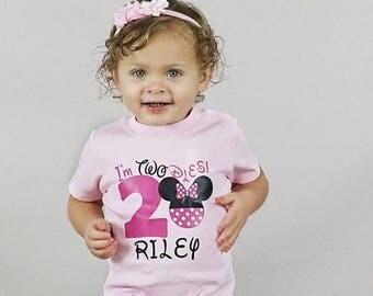 Im twodles shirt, Minnie Mouse birthday shirt, minnie 2nd birthday, second birthday, birthday Minnie Mouse, girl second birthday shirt, shir