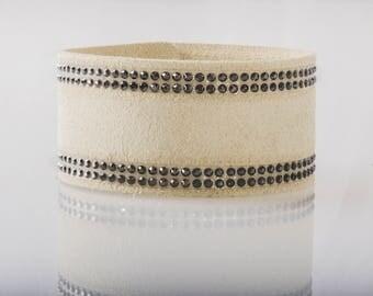 Swarovski Leather Bracelet/ Women's Leather Bracelet/ Soft Leather Bracelet in Eggshell