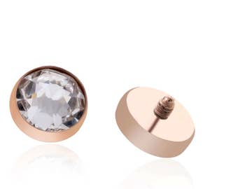 Dermal Body Piercing Jewellery 18kt Rose Gold Titanium Free Shipping