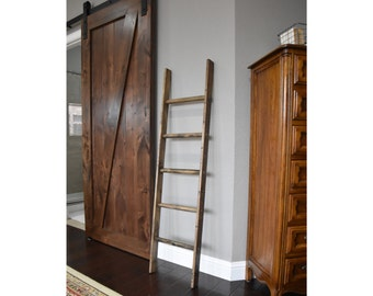 Walnut Stained Pinewood Blanket Ladder, Vintage Quilt Ladder, Rustic Towel Storage