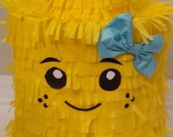 Lego Brick Head Girl with bow. Handmade. New