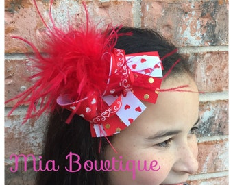 OTT Valentines day Hair Bow, Red Hearts Hair Bow, valentines day bow, Boutique Hair Bow, Red ...
