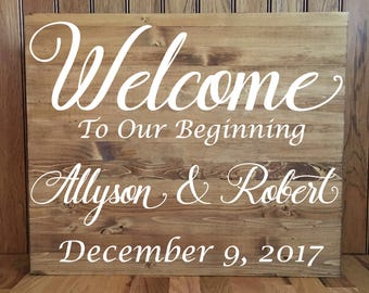 """Welcome Sign/ Wedding Welcome Sign/ Wedding Wood Sign/ Rustic Wedding/Custom Wood Sign/Made to Order/Rustic Wedding Welcome Sign/ 24""""x36"""""""