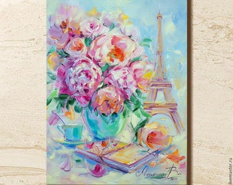 Flowers painting, Eiffel tower painting, Roses painting, Bright painting, Original painting, Oil painting, Roses bouquet, Oil on canvas, Art