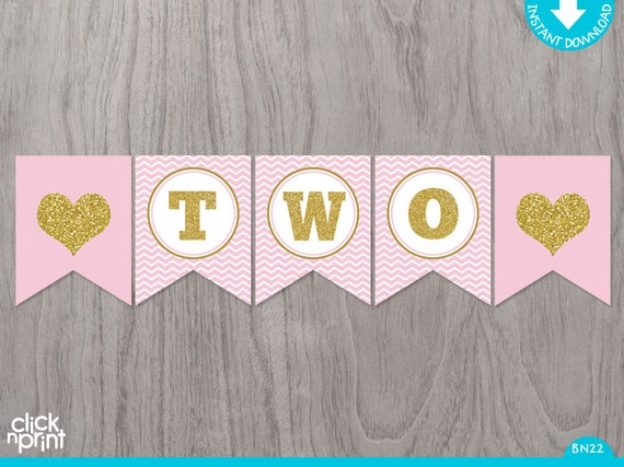 Pink and Gold Printable TWO year old Birthday Banner ...