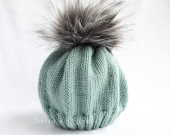 Spring baby hat-faux fur pom pom hat-hand knitted baby beanie-blue/green knit hat-baby winter hat-baby boy pom pom hat-9-12 months beanie