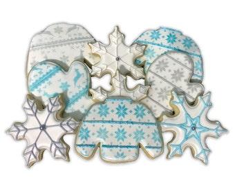 Christmas Cookie Set / Winter Warmth Holiday Cookie Set - 1 Dozen