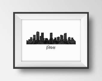 Denver Colorado Skyline Print, Denver Printable Art, Denver Poster, Cityscape, Denver City Skyline , Black and White Wall Art, Office Decor