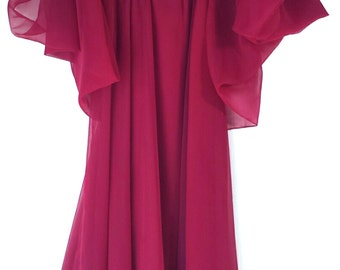 Vintage (10) 1980 Prom Dress Chiffon Deep Wine Merlot Long Dress
