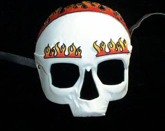 Ghost Rider white leather skull with flames