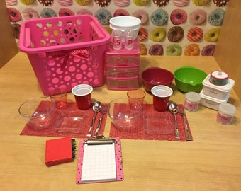 29pcs Pink Kitchen Basket Set - 18 inch doll accessories - bowls, plates, utensils, containers , cake , cups , 3 drawer storage , etc..