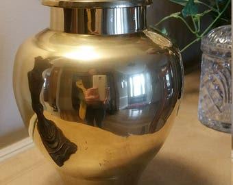 Large Vintage Brass Urn Brass Ginger Jar with Lid