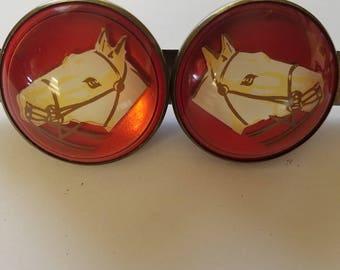 Vintage bridle rosette pair #2