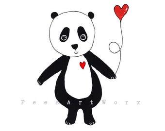 Panda Print, Panda Art, Panda Bear Art, Panda Original Art Print, Whimsical Animal Print, Love Heart Print, Love Art