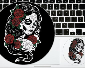 Sugar Skull Phone Decal Stickers Version 18 Day of the Dead Printed for iPhone Samsung Trackpad Macbook Laptop Calavera Sticker Decals