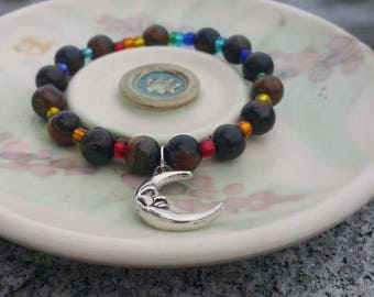 Chakra Bracelet/Moon Bracelet/Tigers Eye Bracelet/Moon Jewelry/Chakra Jewelry/Tigers Eye Jewelry/Moon Gifts/Chakra Gifts/Trippy Jewelry