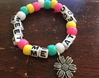 Meet Me at EDC // Festival Rave Kandi Bracelet // with Flower Charm